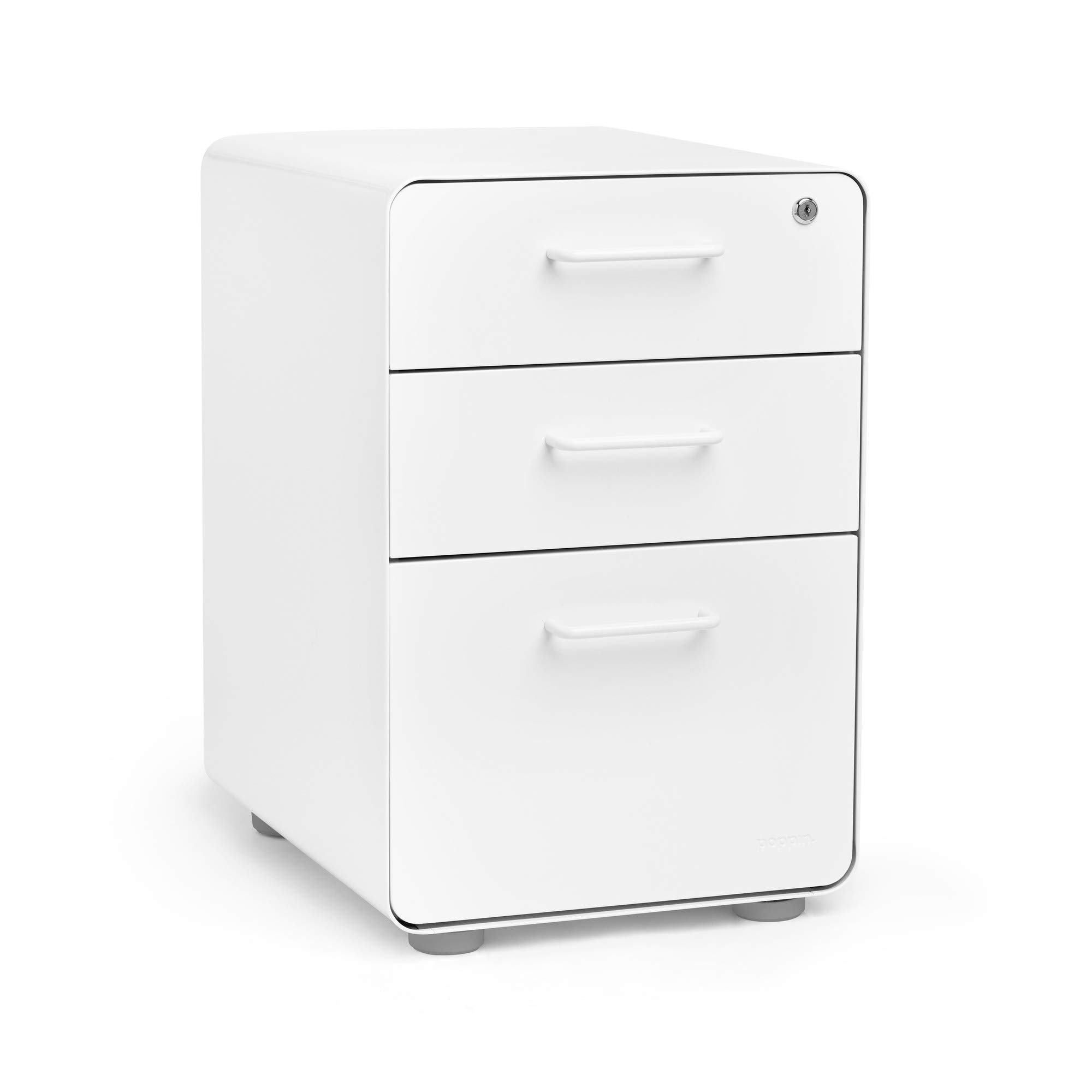 Poppin White Stow 3-Drawer File Cabinet, Available in Modern Colors, Legal/Letter, Locking by Poppin