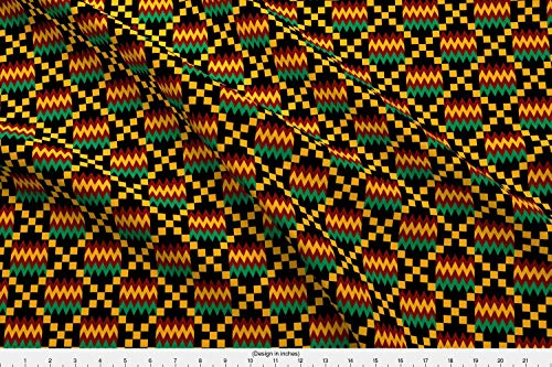 Spoonflower African Art Fabric - African Art Kente Cloth Ghana Africa Kente African Tribal - by Mtothefifthpower Printed on Minky Fabric by The Yard