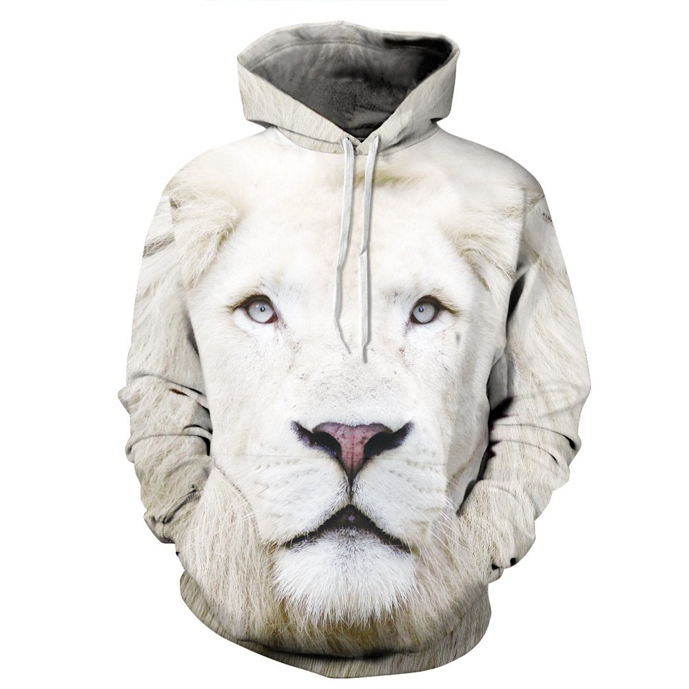 NEWCOSPLAY Unisex Realistic 3D Digital Print Pullover Hoodie Hooded Sweatshirt (L/XL, white lion)