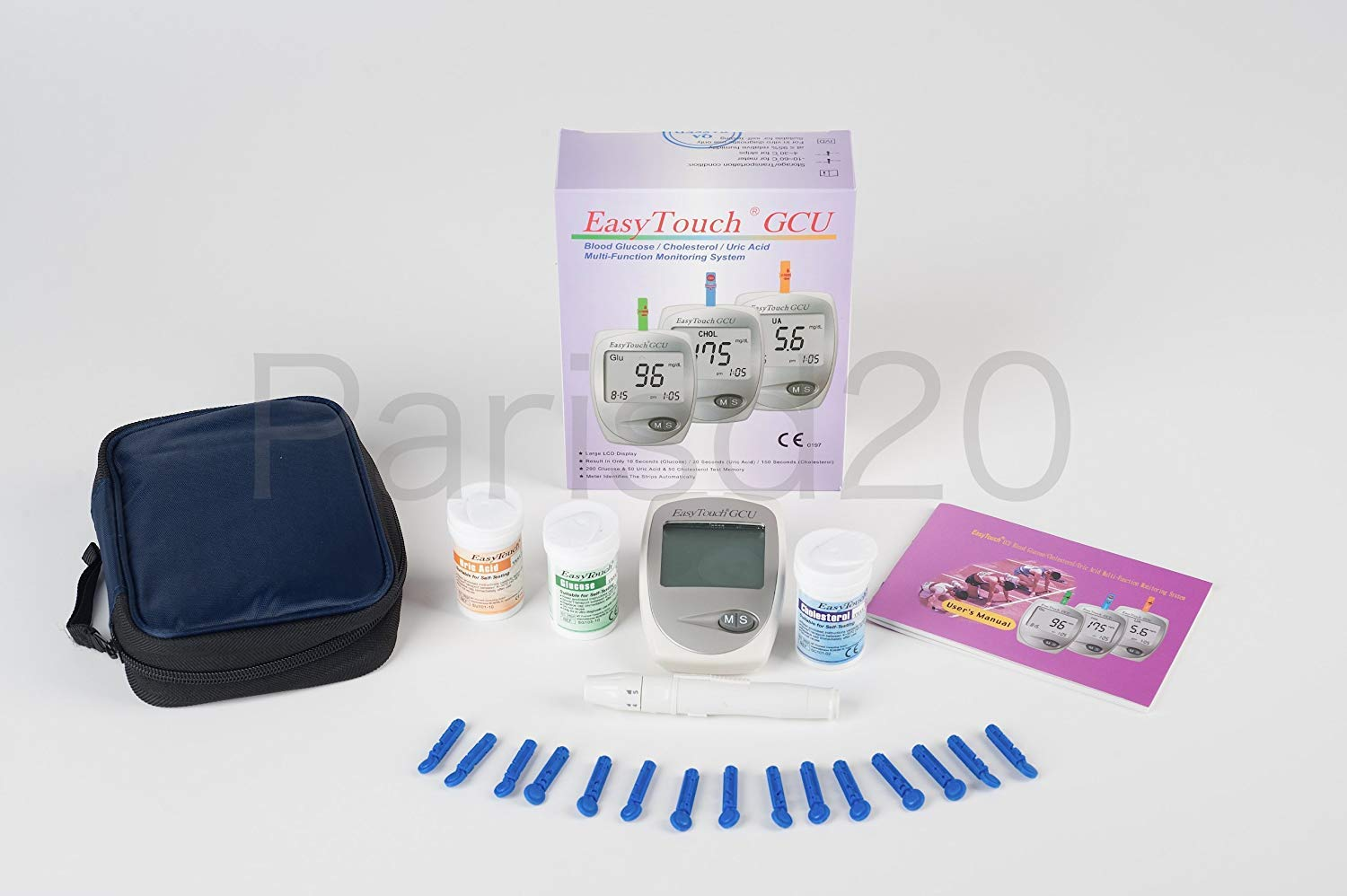 Easy Touch Blood Glucose, Uric Acid & Cholesterol Meter 3 in 1 Monitoring System
