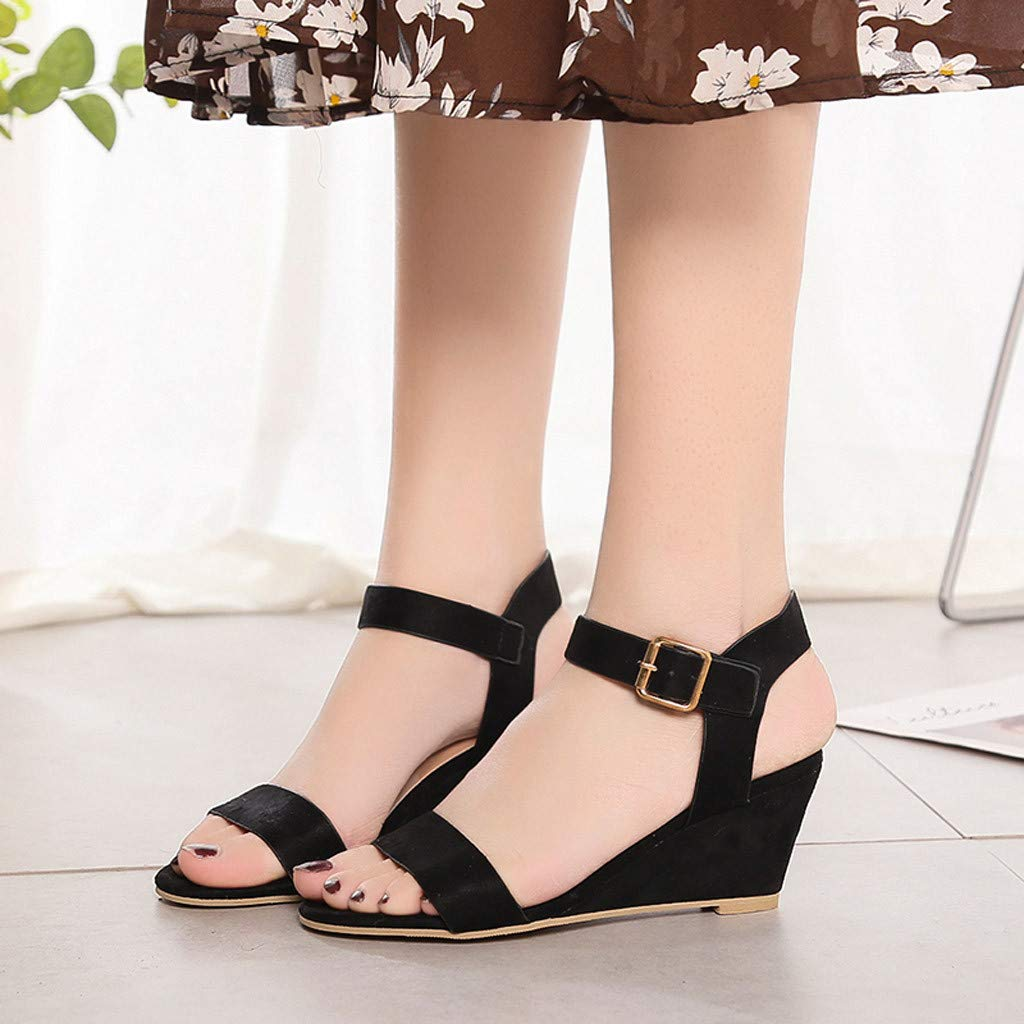 8ddd5a5945b Amazon.com  Memela Women s Sandals Ankle Strap Buckle Mid Wedge Platform  Heeled Sandals Dress Pump Shoes  Clothing