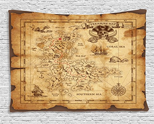 Ambesonne Island Map Decor Tapestry, Super Detailed Treasure Map Grungy Rustic Pirates Gold Secret Sea History Theme, Wall Hanging for Bedroom Living Room Dorm, 60 W X 40 L Inches, Beige and Brown