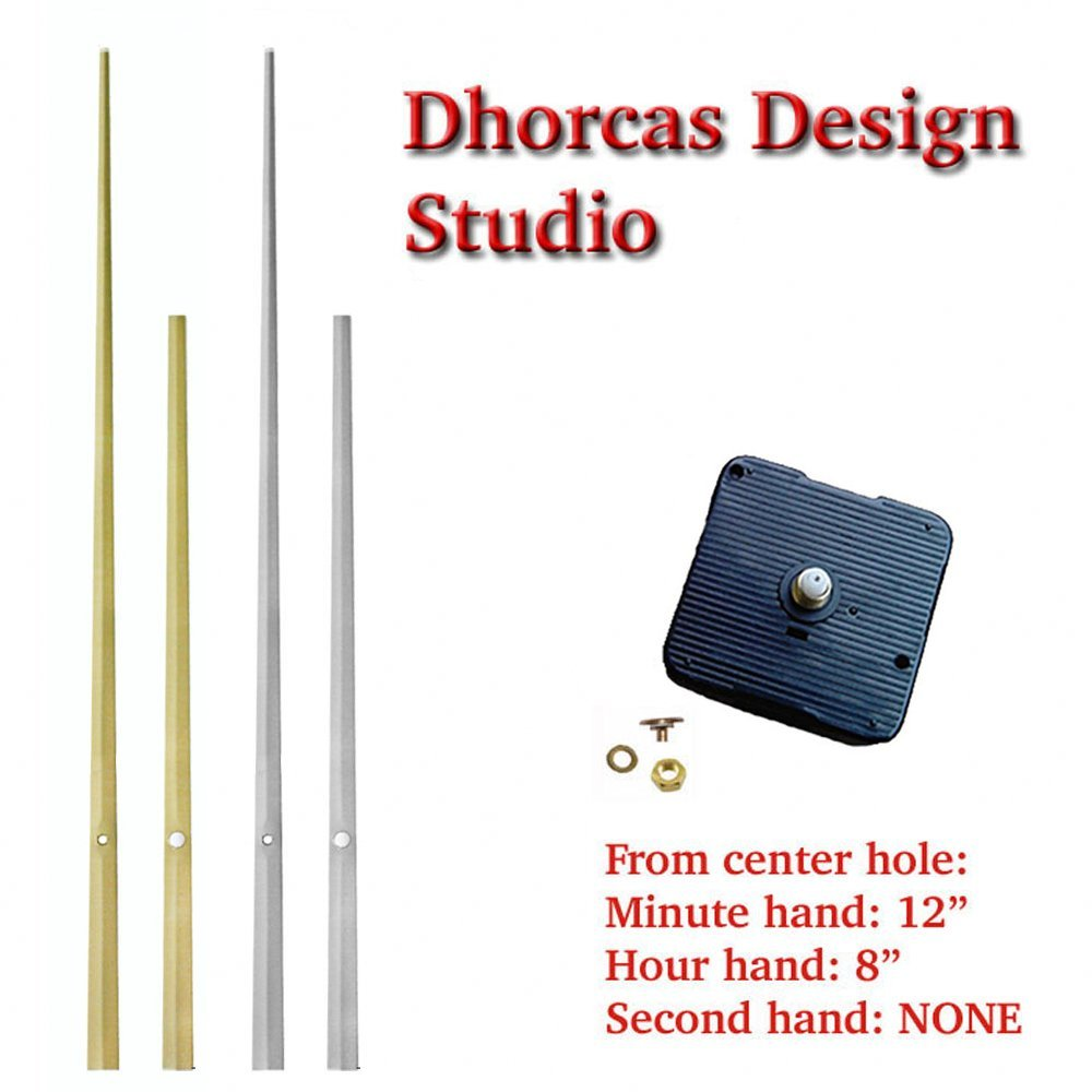 Dhorcas (#014) with 1/4'', 1/2'', 3/4'' Threaded Motor and Long 12'' Gold/Silver Hands, Quartz Clock Movement Kit for Replacement - (Gold, 1/2'' Thread Shaft)