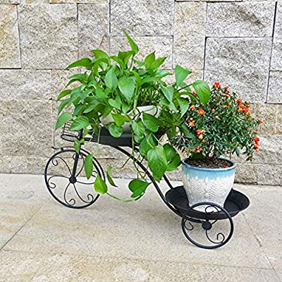 Pergolas Flower Stand Iron Flower Stand Wrought Floor Stand Living Room Pot Rack Multi-Room Room Built-in Rack Tricycle Shape Balcony Flower Rack (Color : Black, Size : 266939cm): Garden & Outdoor