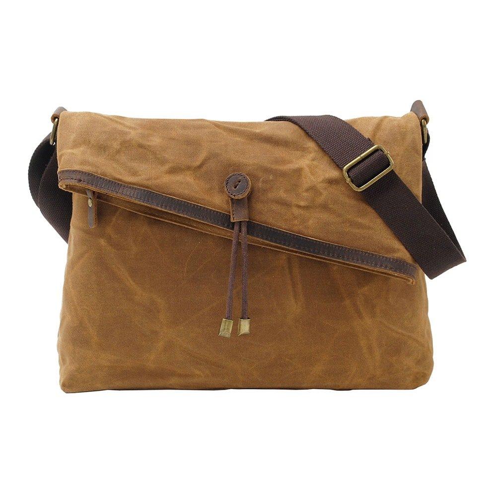 Waxed Canvas Crossbody Bag Vintage Leather Trim Fold Over Shoulder Satchel Bags