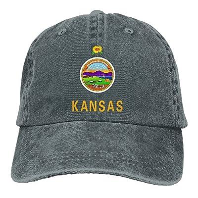SARA NELL Unisex Adult America Kansas Vintage Adjustable Baseball Cap Denim Dad Hat
