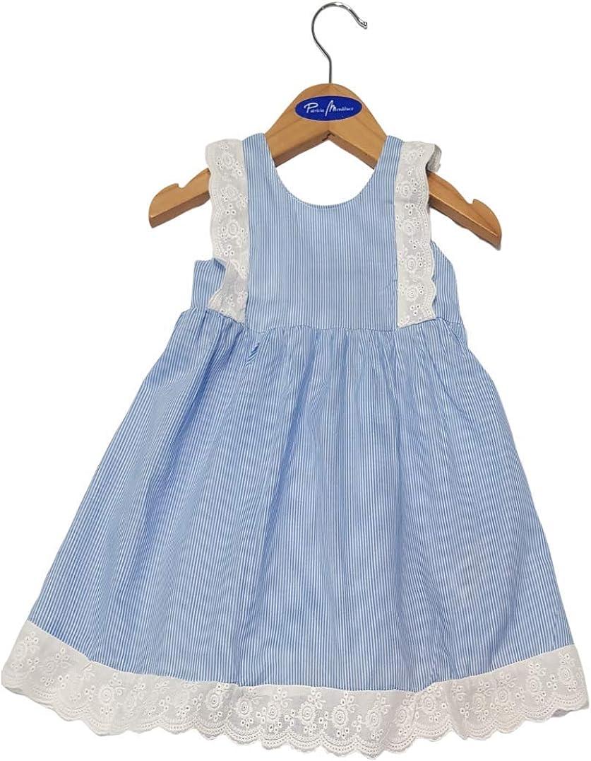 Patricia Mendiluce White Blue Stripes Girl Dress Embroidered Straps