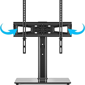 Universal Swivel TV Stand Base Table Top TV Stand for 27-55 inch LCD LED TVs - Height Adjustable TV Mount Stand with Tempered Glass Base, VESA 400x400mm, Holds up to 88lbs