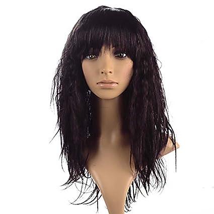 MZP Mujer Pelucas sintéticas Sin Tapa Largo Rizado rizado Vino oscuro Peluca natural Peluca de Halloween
