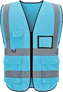 evershare 1 Pack, Class 2 High Visibility Safety Vests Reflective with Pockets and Zipper Bright Breathable High Reflective Strips Mesh Fabric Security Vest Meets ANSI/ISEA Standards (XL), Light Blue