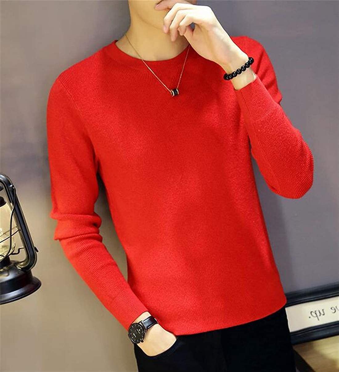 SELX Men Long Sleeve Solid Color Crewneck Slim Fit Pullover Knitted Sweater