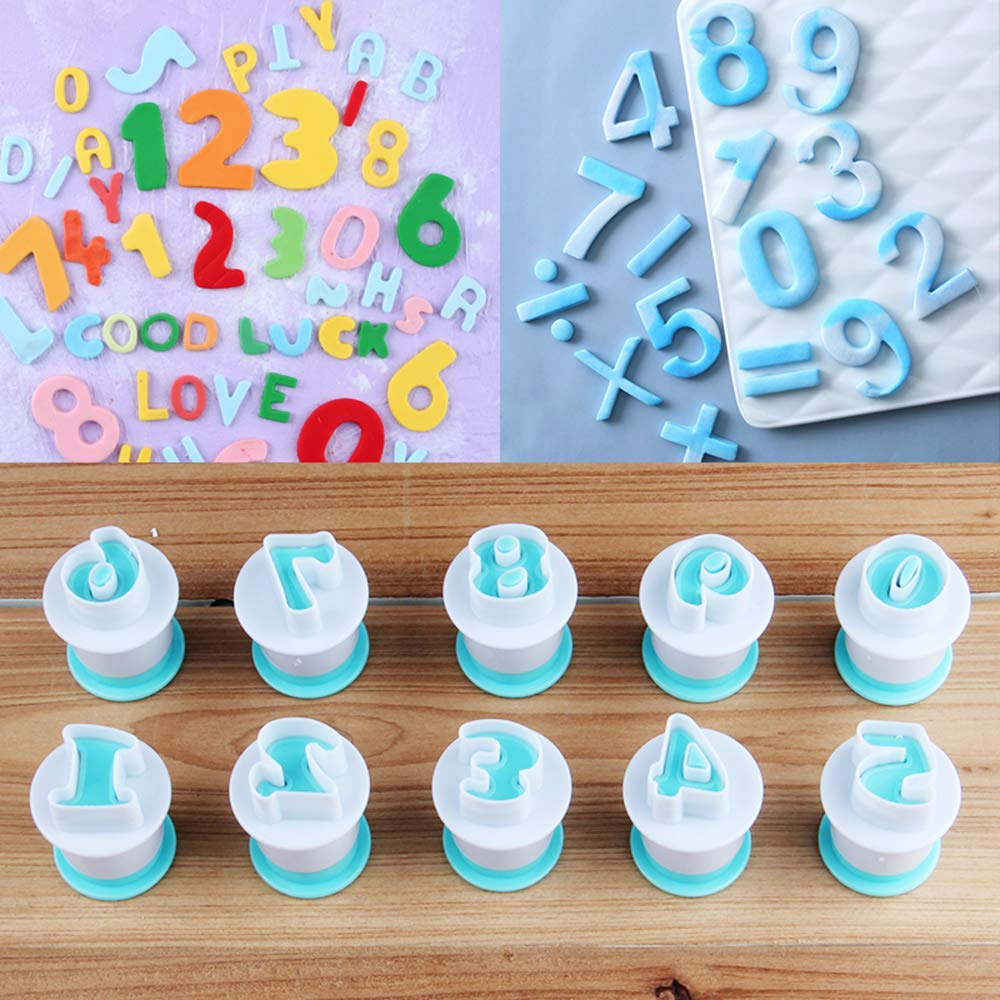 Nuoda 3 Pack DIY Letters Numbers Cake Mould Fondant Sugar Craft Cookies Plunger Cutter Mold Decorating Tools (3 Set of Number and Letters) by Nuoda (Image #3)