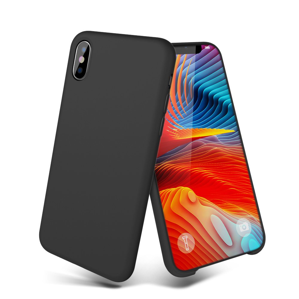 iPhone X Case, iPhone 10 Case, MeanLove Liquid Silicone Gel Rubber Case Cover with Soft Microfiber Cloth Lining Cushion for Apple iPhone X (2017 Release) (Black)