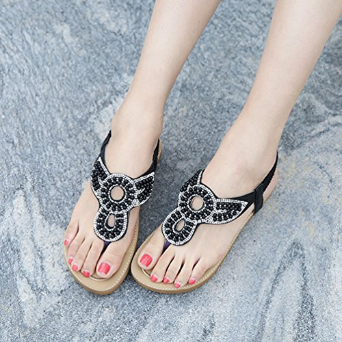 Thong Sandales Bling Sparkle Plat élastique Plage Bohème Flip Noir Été Confort Flops Or 5gY51wxBq