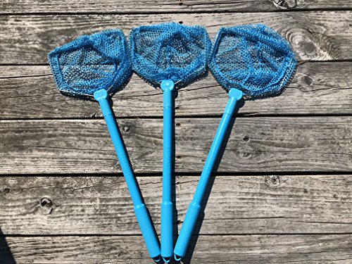 Illuminet 3 Pack Floating Bait Nets Blue: Kids Beach Nets, Beach Toys for Kids, Kid Fishing Nets, Butterfly Net, Beach Toy, Shelling Net, Dip Net, Crab Net, Critter Net, Fish Net, Bug Net, Minnow Net ()