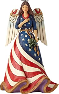 courti Jim Shore Heart Wood Creek Patriotic Angel with Flag Dress Figurine, Home Decor Statues and Figurines, Religious Statue, Religious Decorations Home Office Decor -8.27 Inch