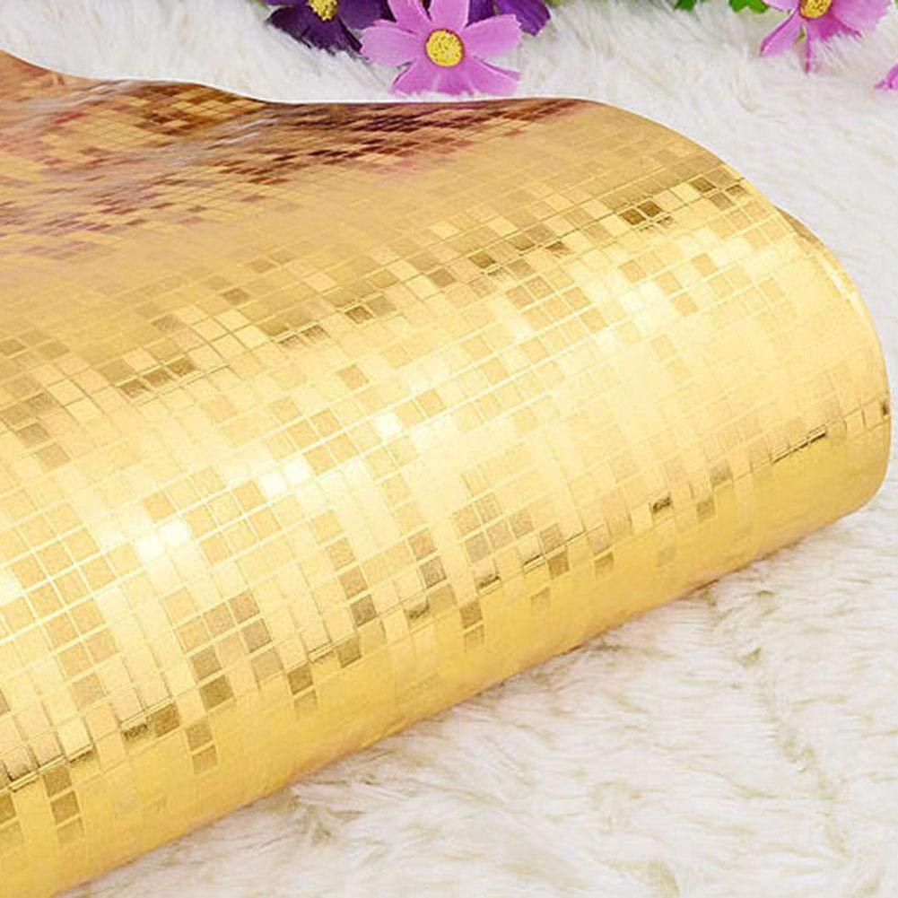 53 cm x 10 m Impermeable dise/ño de Mosaico con Efecto de Espejo LEM 1 Rollo de Papel Pintado con dise/ño de Mosaico Dorado 3D Efecto Espejo