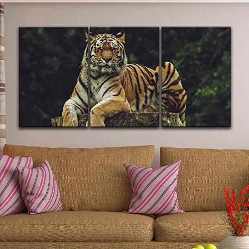 3 Panel Tiger Lying on a Tree Stump Gallery x 3 Panels