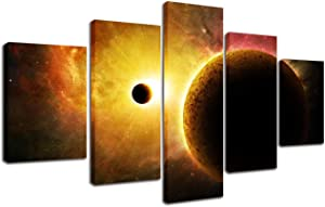 Outer Space Wall Art Painting - Universe Stars Sun Planet Moon Eclipse Poster Canvas Print Modern Home Office Decoration Galaxy Wooden Framed Wall Pictures for Living Room Bedroom Decor 5 Panels