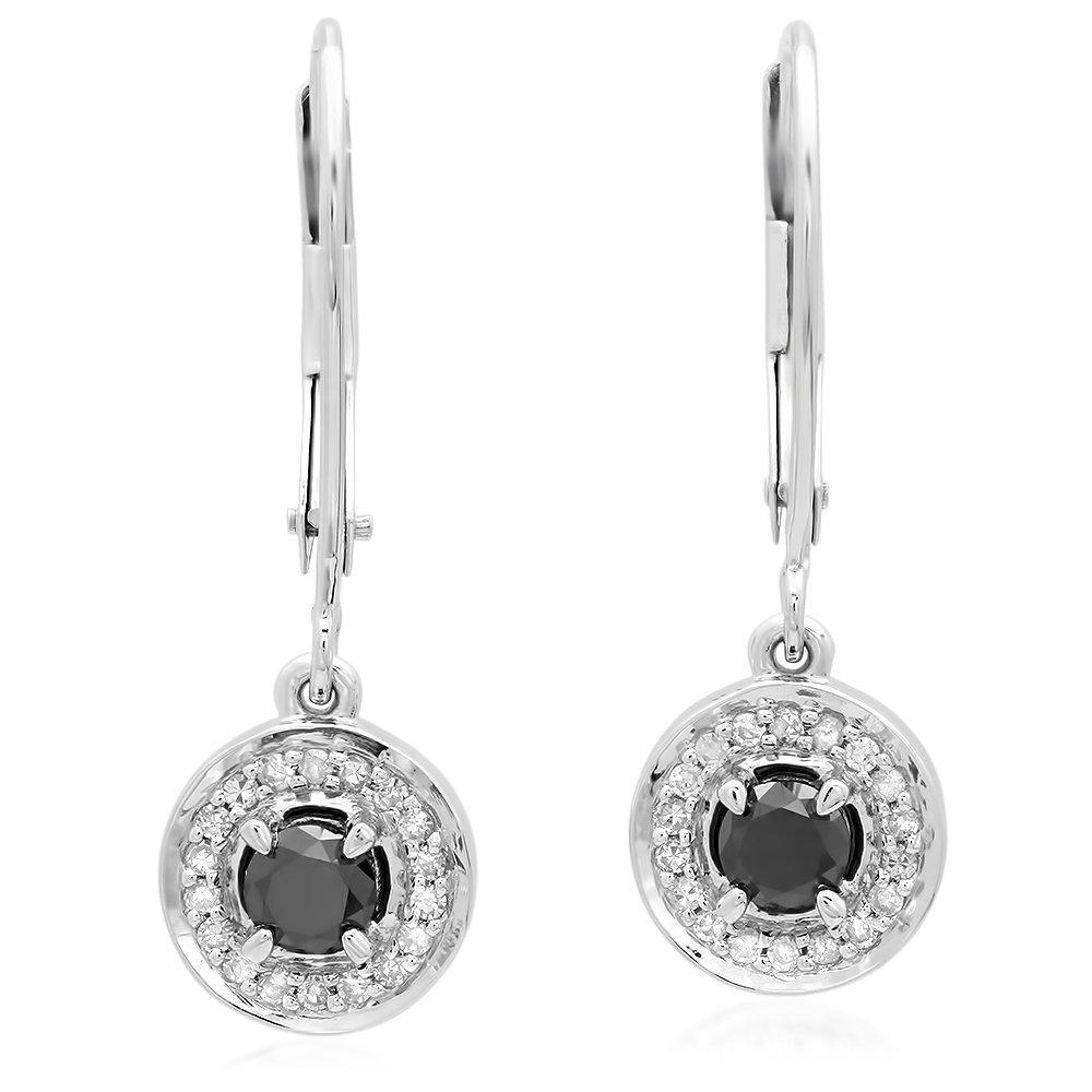 0.50 Carat (ctw) 14K White Gold Each Round Black & White Diamond Halo Dangling Drop Earrings 1/2 CT