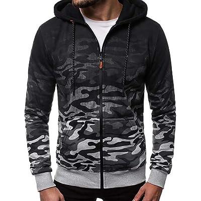 WINJUD Men's Slim Fit Hoodies Round Neck Pullover Gradien Color Printing Blouse Sweatshirt: Clothing