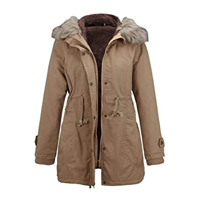 f3a496431a5f Rela Bota Womens Hooded Warm Winter Faux Fur Lined Coats Parkas Wool Jacket  Outwear Medium Khaki