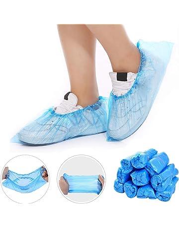 Shoe Covers Disposable,BESTZY 100 Pcs Protective Shoe Covers Plastic Shoe Protectors for Carpet Anti