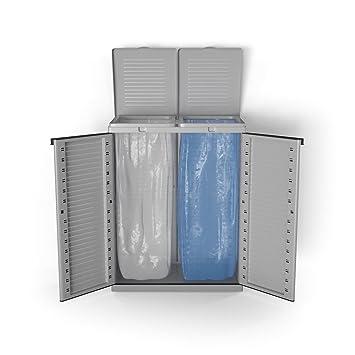 Mülleimer Kunststoff Mülltonnenbox Mülltrenner Gelber Sack 2 Fach Schrank  Abfalleimer Gartenschrank Grau
