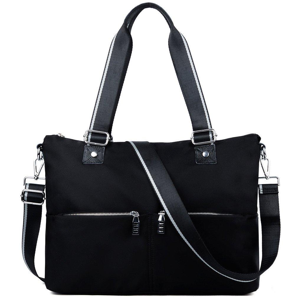 YALUXE Women's Durable Oxford Nylon Large Capacity Lightweight Tote Shoulder Bag Black