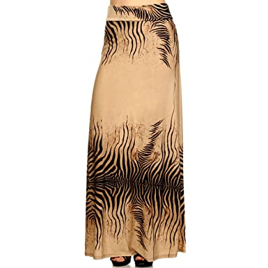 13779f58b5e Image Unavailable. Image not available for. Color  Crazy4Bling Plus Size  Zebra Print High Waist Maxi Skirt in Brown Tones ...