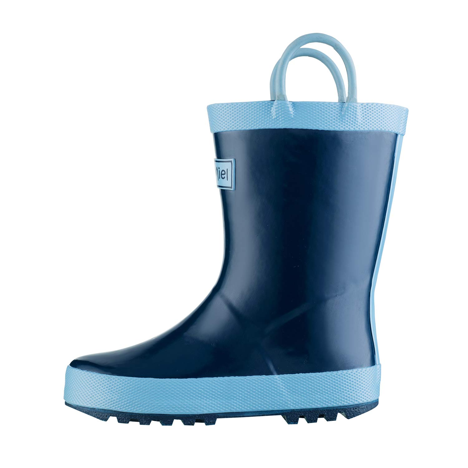 CasaMiel Kid&Toddler Rain Boots for Boys and Girls, Children Handcrafted Rubber Boots, Noble Blue