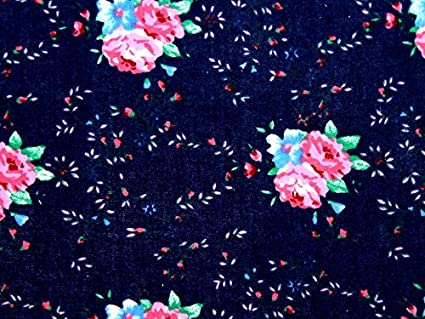 "Black /& Pink Small Floral Ditsy Cotton Fabric Material 45/"" Wide Crafts Dress"
