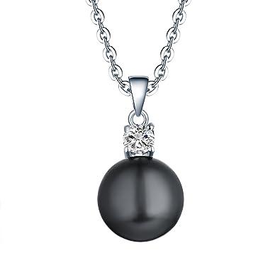Amazon 925 sterling silver black freshwater cultured pearl 925 sterling silver black freshwater cultured pearl pendant necklace jo wisdom jewelry for womengirls aloadofball Gallery