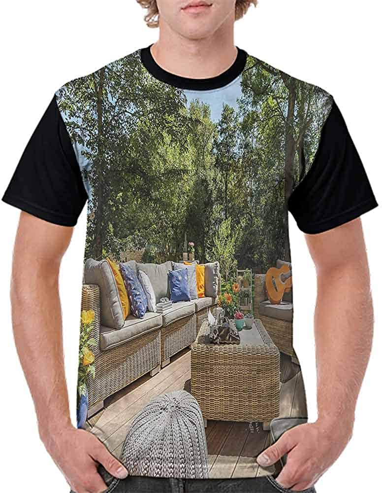 BlountDecor Casual Short Sleeve Graphic Tee Shirts,Terrace Balcony with Trees Fashion Personality Customization