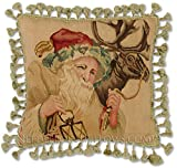 Williamsburg Antique Style Victorian Traditional Old Fashioned Santa Claus Saint Nick Handmade Christmas Holiday Needlepoint Decorative Throw Pillow. 20'' x 20''.