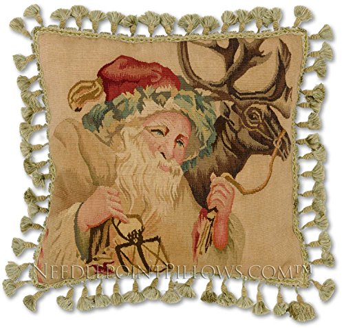 Williamsburg Antique Style Victorian Traditional Old Fashioned Santa Claus Saint Nick Handmade Christmas Holiday Needlepoint Decorative Throw Pillow. 20