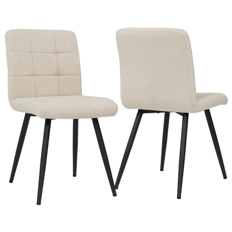 Duhome 2x Sedia da sala da pranzo in tessuto crema beige sedia imbottita design retro con piedini in metallo vintage selezione colore 8043B