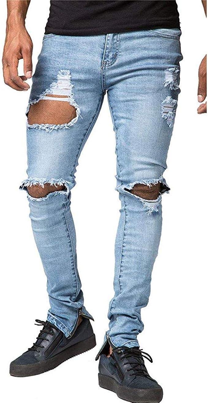 Mens Skinny Jeans Ripped Slim Fit Stretch Denim Cotton All Waist Biker Pants