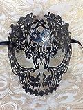 Black Filigree Skull Venetian Masquerade Mardi Gras Costume Halloween Mask