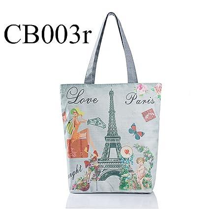 Adealink Fashion Women Girls Canvas Beach Bag Paris Tower Printed Shoulder  Bags Single Top-Handle 351a68f6a5