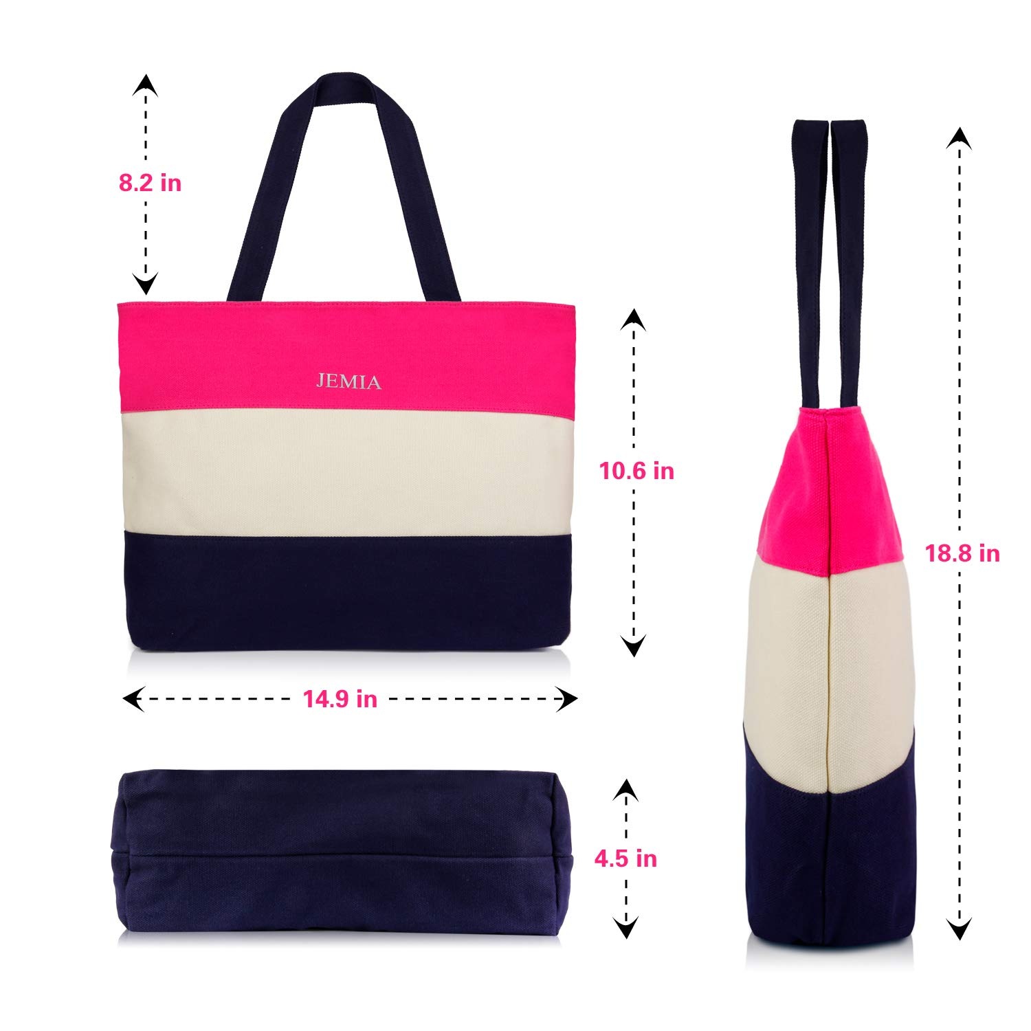 Blue Stripe White Pink Small Purses and Handbags for Women JEMIA Canvas Tote Bag with Zipper