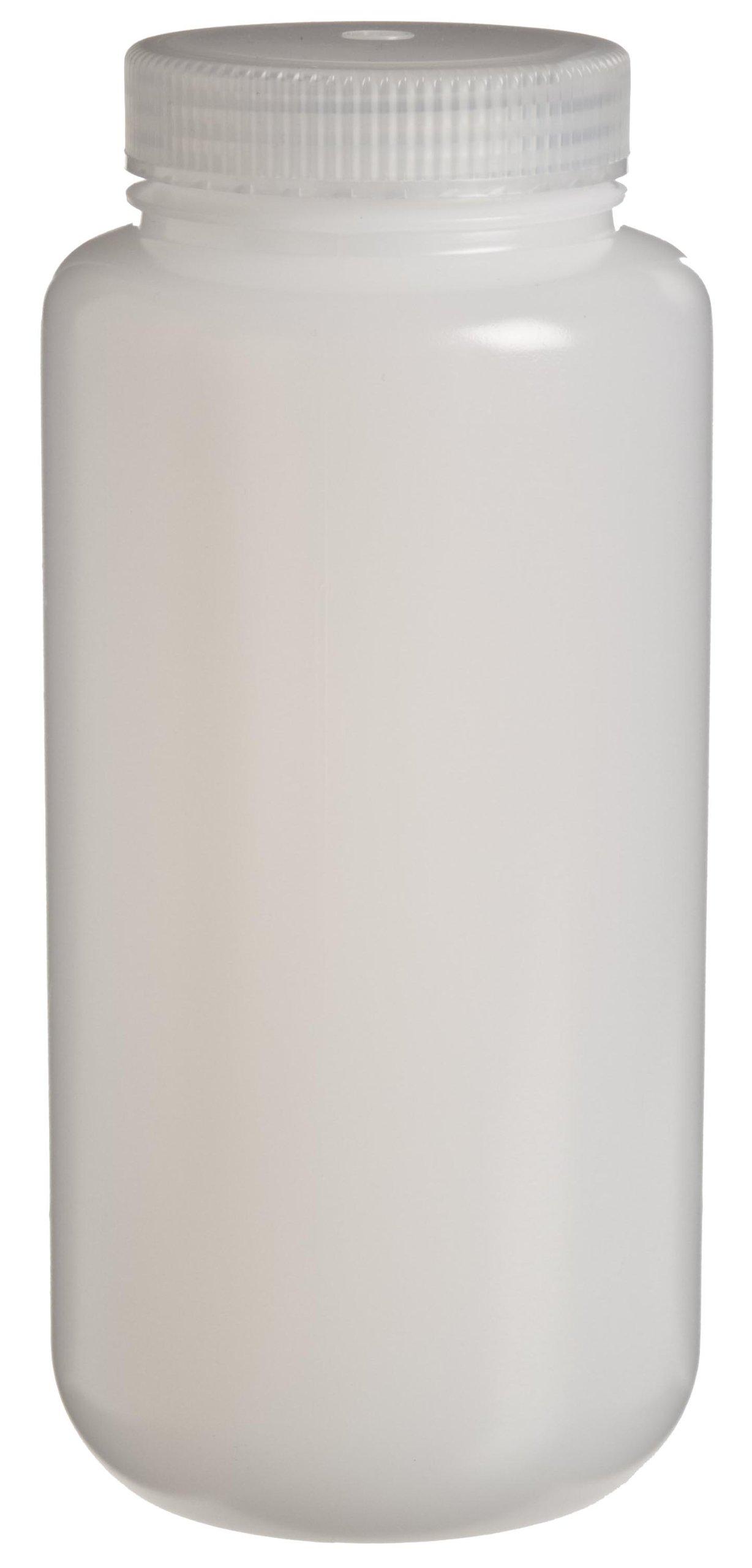 Nalgene 332189-0032 Wide-Mouth Sample Bottle, HDPE, Bulk Pack, 1000mL (32 ounce) (Case of 50)
