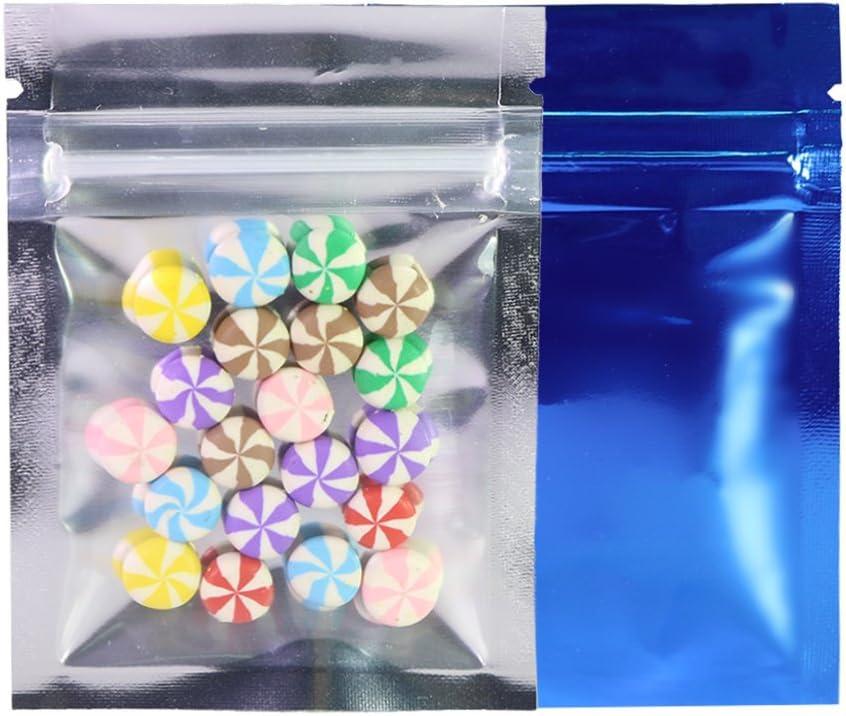 """QQ Studio Clear/Colored Mylar Zip Lock Bags w/Tear Notch 6.5x9cm (2.5x3.5"""") (Clear/Silver/Blue)"""