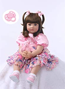 iCradle Cute 24inch 60CM Reborn Baby Doll Long Hair Girl Doll Soft Silicone Baby Real Life Baby Toddler Doll Toy for Ages 3+ (F)