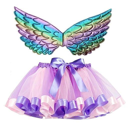 NINGYE Falda de Tul de Ballet para niñas con alas de ángel ...