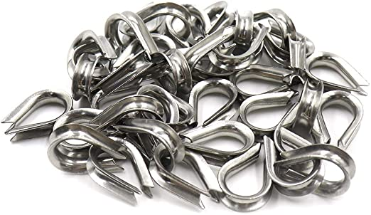 1 STAINLESS STEEL THIMBLE THIMBLES WIRE CABLE ROPE CABLE CLIPS CLAMPS 6MM