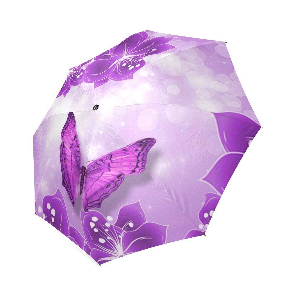 カスタマイズされたユニークな蝶と花折りたたみ雨傘/パラソル/太陽傘 B076C41BBM