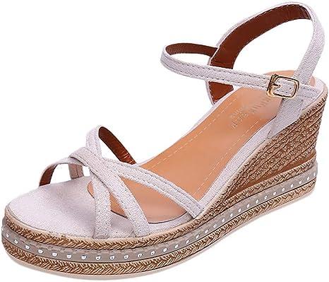 SHE.White keilabsatz Schuhe Damen Sandalen Plateau Wedge SandalenSandaletten Frauen Herde Sommer Knöchel Schnalle Sommerschuhe Offener Zeh Römische