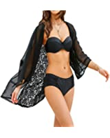 Naggoo Women's Lace Chiffon Kimono Cardigan Blouse Beach Swimsuit Cover Up