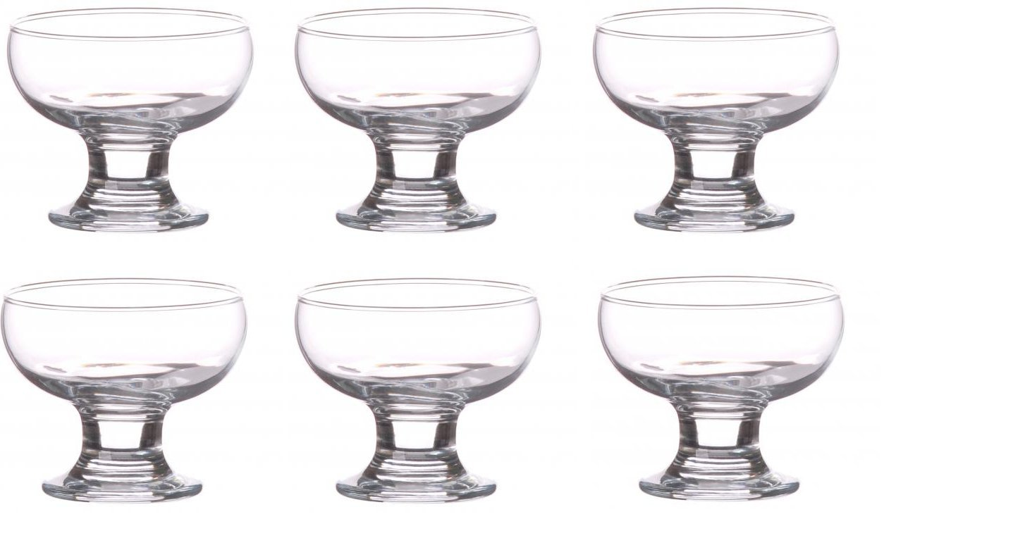 6 Dessert Sundae Ice Cream Cocktail Bowls Short Stemmed Glass UMKY